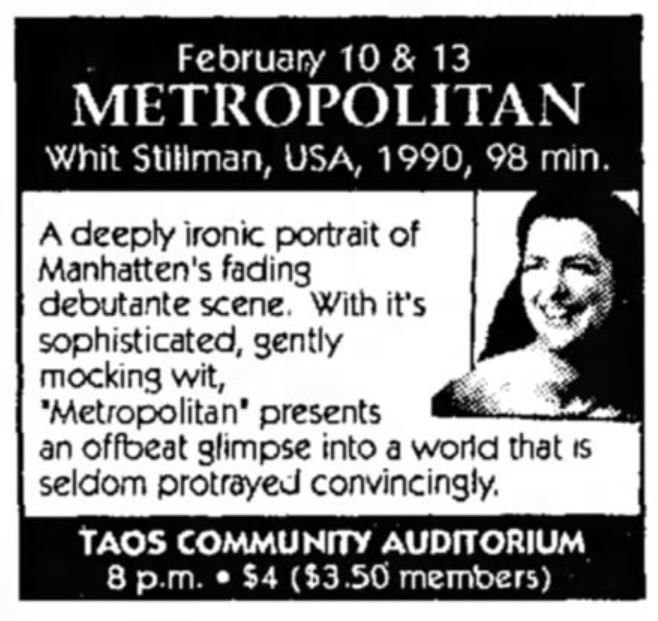 Metropolitan Newspaper Ad