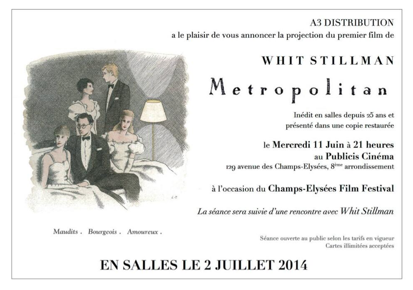 Whit Stillman Metropolitan playing in France