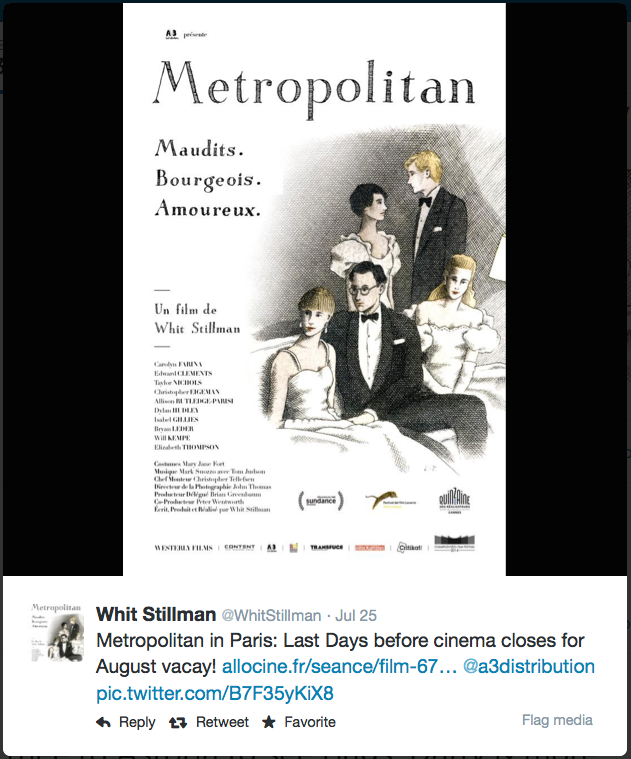 Whit Stillman METROPOLITAN Frances showtimes