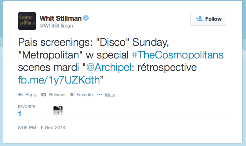 Whit Stillman screenings