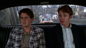 Chris Eigeman and Mackenzie Astin in a taxi in Whit Stillman's The Last Days of Disco  jpg