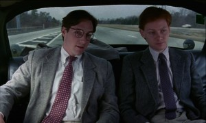 Taylor Nichols and Edward Clements in a taxi in Whit Stillman's Metropolitan jpg