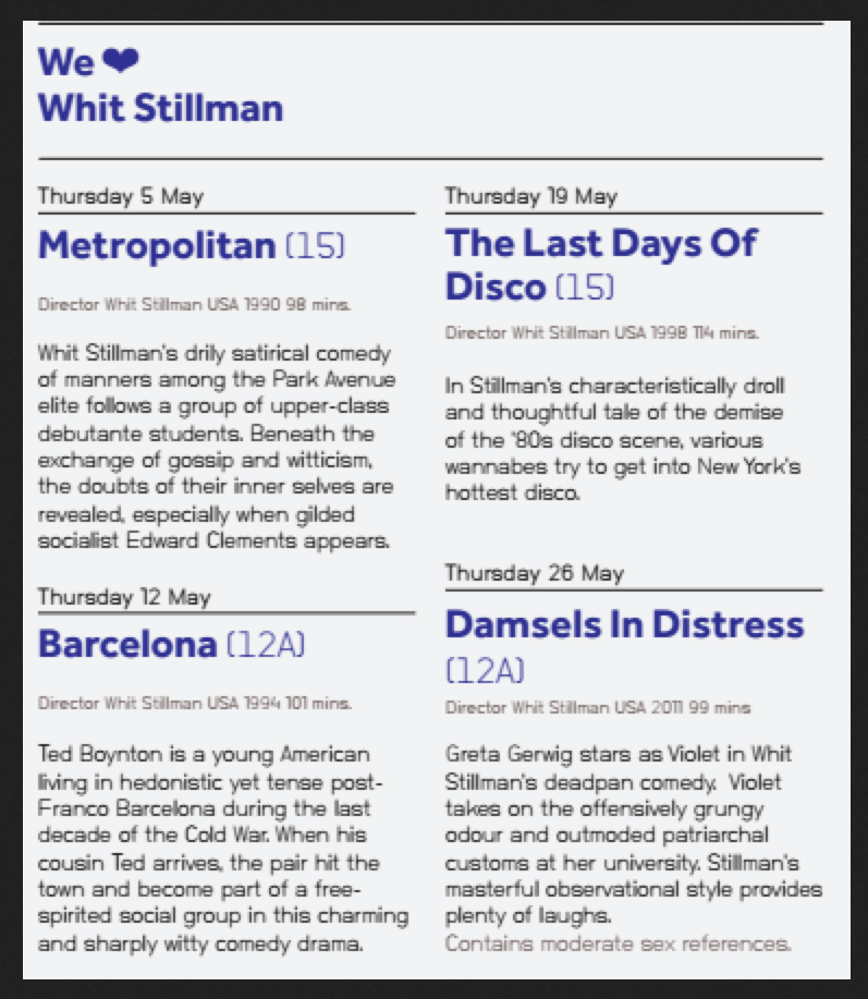 Whit Stillman Film Retrospective