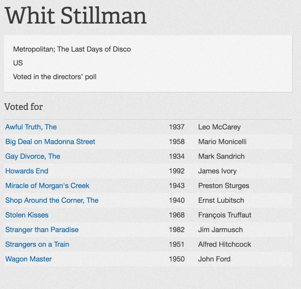 Whit Stillman top ten