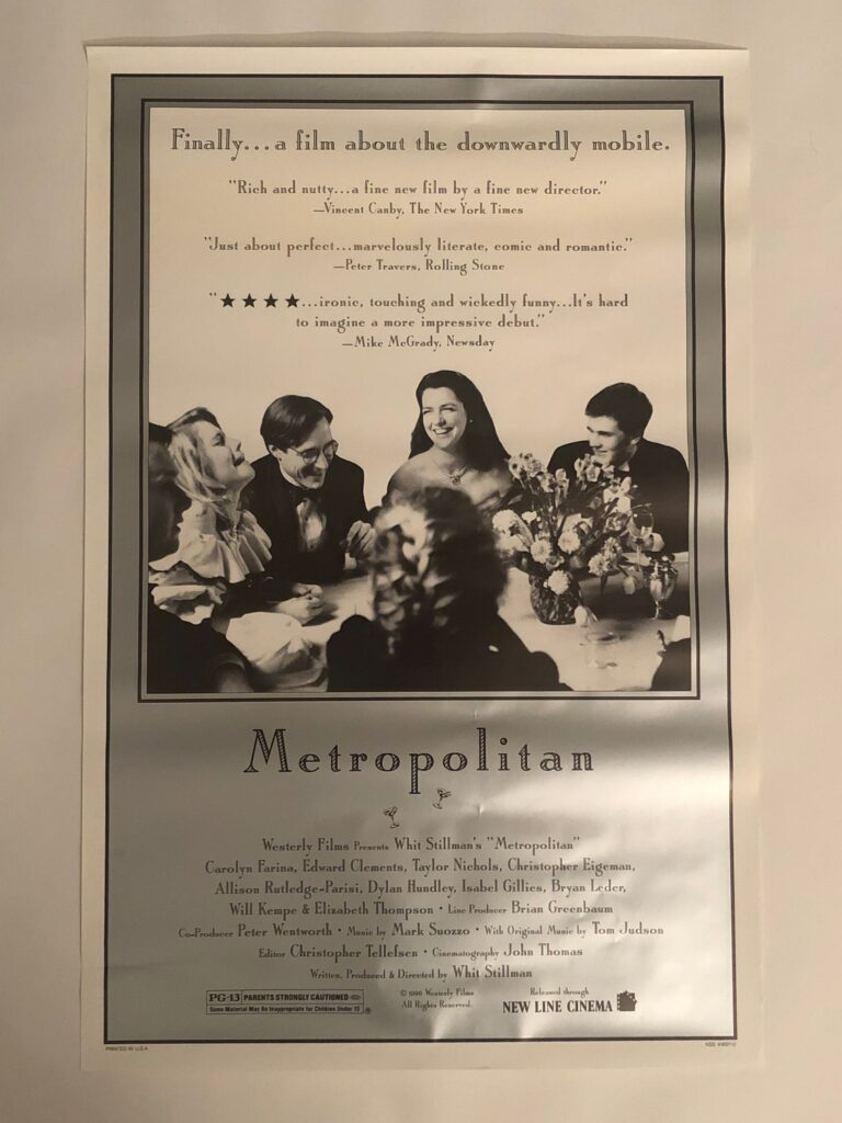 Original Whit Stillman Metropolitan One Sheet Poster