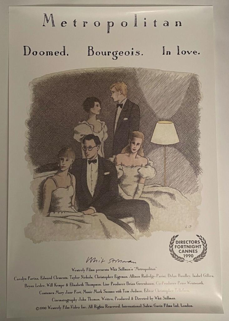 Metropolitan Poster Whit Stillman Autographed